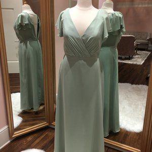 Long sage bridesmaid dress with sleeves